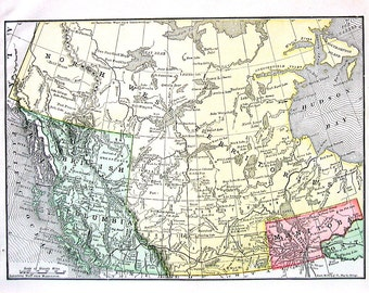 Map of British Columbia, Manitoba and the North West Territories - 1890 Antique Map - Antique Encyclopedia Book Page