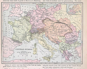 1895 Antique Map - Map of Central Europe - Vintage Book Page - 12 x 10