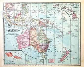 1902 Antique Map - Australasia, Malay Archipelago, Micronesia - Antique History Book Page - 12 x 10