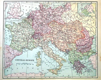 1902 Antique Map - Map of Central Europe - Antique History Book Page - 12 x 10