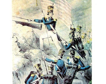 Currier and Ives Print - Flight of the Mexican Army Battle of Buena Vista, Storming the Heights at Monterey -1968 Vintage Book Page - 12 x 9