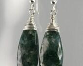Moss Agate Teardrop Earrings