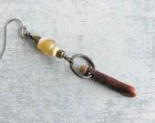 Vintage Bead Dangle Earring / Modern Boho Single Earring / Eco friendly Handmade Jewelry by Luluanne