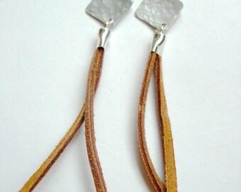 Square Aluminum Leather Tassel Fringe Earrings in Tawny - Medium Length