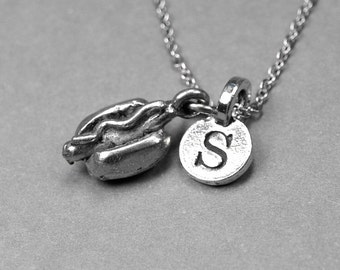 Hotdog Necklace, fast food charm, Hot Dog Necklace, silver pewter, initial necklace, initial hand stamped, personalized, monogram letter