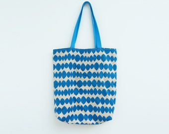 Blue and beige geometric fabric cotton tote bag