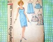 UNCUT Vintage Simplicity Pattern 4218 - 1960's Full Slip, Half Slip & Panties, Size 20