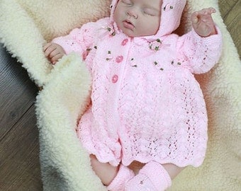 KNITTING PATTERN For Diana Baby Matinee, Jacket, Hat & Bootees PDF 212 Digital Download