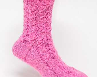 Hand Knit Braided Cable Socks