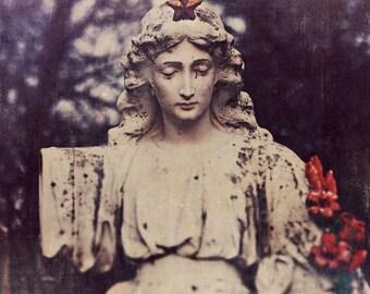 Cemetery Statue Photograph, Halloween Decor, Graveyard Photo, Gothic, Dark Art, Winter, Still Life Photography, Square, Dark Art, Dreamy