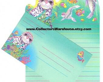 Lisa Frank Rainbow Reef Die Cut Stationery Sheet w/ envelope Leopard Seal