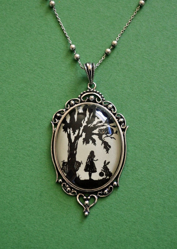 alice in wonderland necklace pendant on chain silhouette