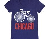 Womens Chicago Bike - Fitted Scoop Neck T-shirt Indie Hipster Midwest Bicycle Cyclist Wheel Tee Illinois Shirt Windy City Track T-shirt