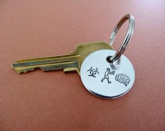Zombie Keychain - Zombie Apocalypse - Biohazard - Brains - Stamped Key chain Accessory