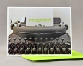 Congrats Note Card Typewriter Lime