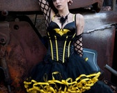 Ultra Bee Batman tutu petticoat skirt adult black with yellow trim Halloween costume poofy carnival - You Choose Size -- Sisters of the Moon