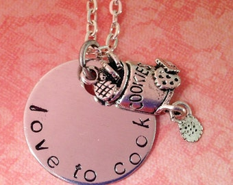 Hand Stamped Love to Cook - Kiss The Cook Necklace