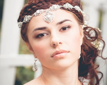 "Silver Crystal Bridal Crown | Handmade Lace Wedding Halo Head Band | Woodland Spring Wedding ""Acanthus"""