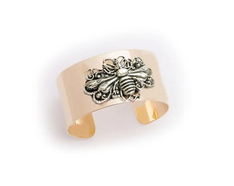 Two Tone Bee Gold Plated Cuff Bracelet