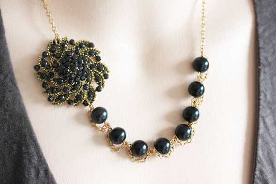 Black Rhinstone Necklace Black Beaded Necklace Black Pearl Necklace Black Bridesmaid Necklace