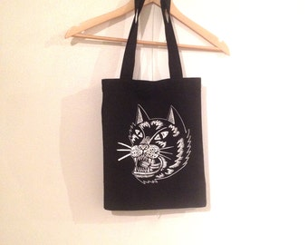 Black Cat Heavy Duty Canvas Tote Bag, Angry Cat Black Tote Bag, Black Cat Tote