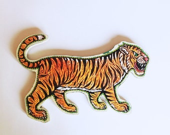 Art, Tiger Woodcut Painting Wall Art, Tiger Painted Woodblock Print Mounted on Wood, Made to Order