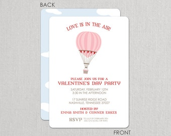 Valentine's Day Party Invitation - Hot Air Balloon - Love is in the Air
