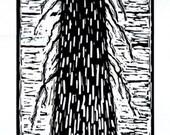 Our Lady of the Redwoods - Original Linoleum Block Print