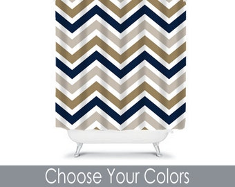 navy and tan shower curtain. Chevron SHOWER CURTAIN Custom MONOGRAM Personalized Bathroom Decor  Navy Gray Tan Colors Bath Towel shower curtain Etsy