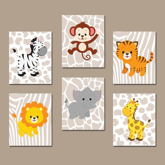 Jungle animals wall art baby boy nursery pictures canvas for Babyzimmer set junge