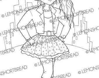 Digital Stamp 80s Fashion City Girl, Digi Download, Coloring Page, 1980s Eighties Punk Retro Style, Clip Art, Scrapbooking Supplies