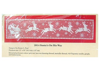 Vintage Santa and Reindeer Table Runner - Christmas Lace Net Darning Kit - Santas On His Way - The Creative Circle 2814