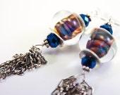 Dream in Color Chain Detail Earrings, Free Shipping, Lampwork Glass, OOAK, LauraMaeJewelry