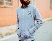 Men's monogram cardigan, unisex American Apparel Heather Gray jersey blend sweater, monogram shirt for men or women - BLACKBIRD TEES