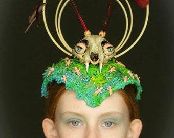 Splendor In The Grass Skull Fascinator Hat