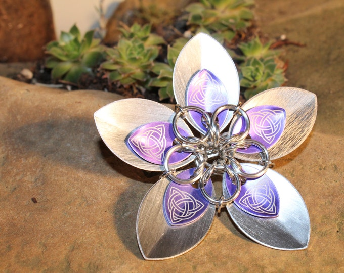 Faerie Flower - Celtic Etched Purple on Silver - Hair Clip