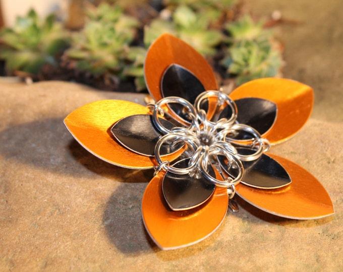 Faerie Flower - Black on Orange - Hair Clip