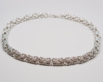 VERY thick mens 12 gauge sterling silver byzantine chainmaille necklace