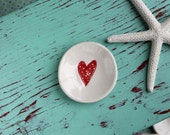Red Polka Dot Heart on Mini Round Dish