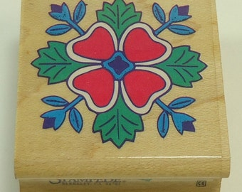 Floral Quilt Wood Mounted Rubber Stamp By Rubber Stampede A902C