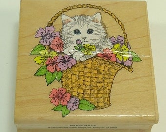 Kitty In Flower Basket Wood Mounted Rubber Stamp By Hero Arts F 455