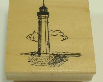 Lighthouse Wood Mounted Rubber Stamp By Hardware Stamping