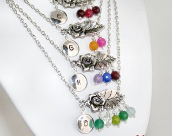 Mommy Birthstone Necklace in Silver, Handstamped Initial Charm Necklace, Add up to 5 Genuine Birthstones, Mommy Daughter Jewelry