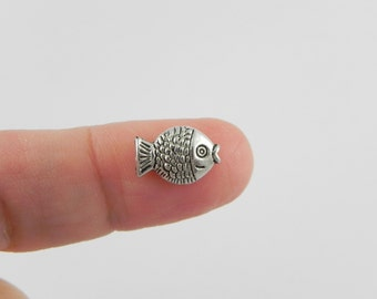 24 Fish Pewter Beads - Antiqued Silver - 12mm x 8mm