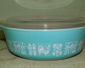 PYREX MILK GLASS, Rare Powder Colonial Teal Serving Bowl, with lid, Milk Glass, Wheat, Farmer, Rooster, Farm Life