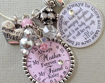 MOTHER of the BRIDE gift- PERSONALIZED wedding, all that I am I owe to you, always my mother, forever my friend blessed to be your daughter