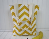 Lunch Bag - Lunch Tote - Insulated Lunch Tote - Mini Tote - Chevron Bag - Chevron Tote Bag