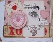 Valentine Card, Handmade Valentine,  Valentine, Valentines Day, Vintage Stye, Red, Pink, Kiss, Romantic,  Love, Handmade Card, ofg team