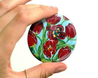 Red Tulips Pocket Mirror