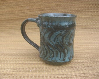 Blue green carved mug handmade